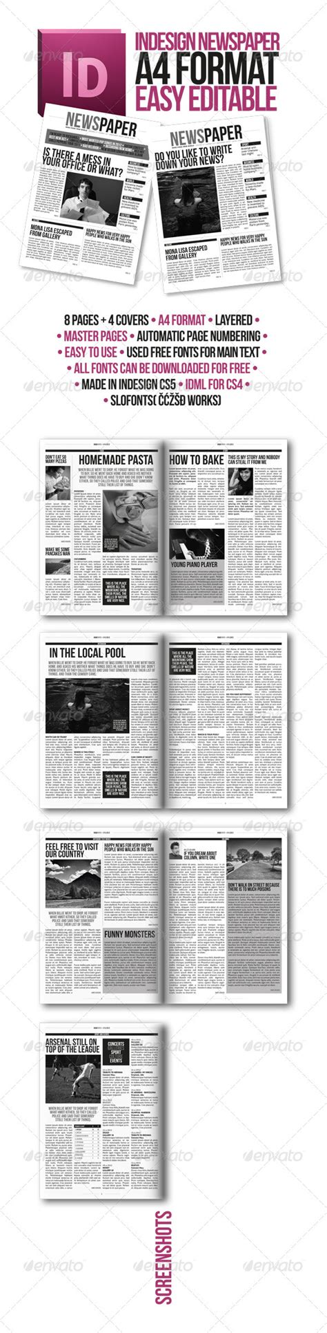 Indesign Modern Newspaper Magazine Template A4 By Zigazi83 Graphicriver Indesign Newspaper Template Free