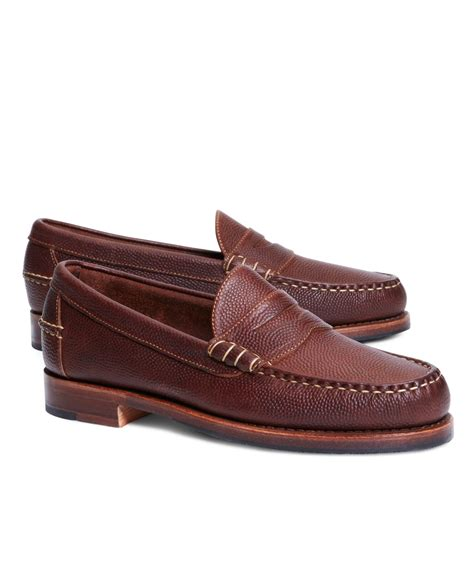 brown loafers brothers football leather loafers in brown