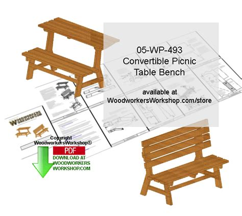 convertible bench table plans 05 wp 493 convertible picnic table bench scrollsaw