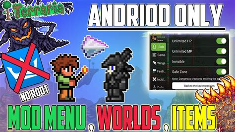 modded for android how to get terraria mod menu for android no root mod menu all items worlds and modded items