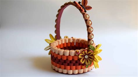 Basket With Paper - quilled basket part 1 paper basket quilling basket
