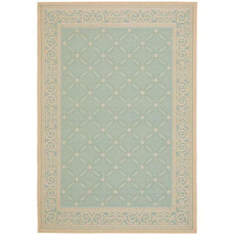 Safavieh Courtyard Aqua Cream 4 Ft X 5 Ft 7 In Indoor Aqua Outdoor Rug