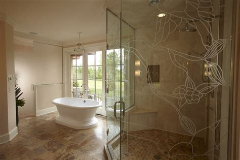 custom master bathrooms master bath with custom etched glass shower traditional