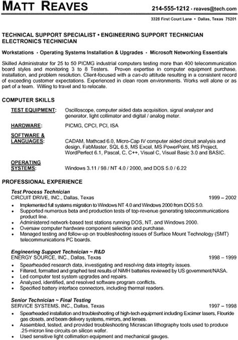 resume exles technical resume format for technical support resume ideas