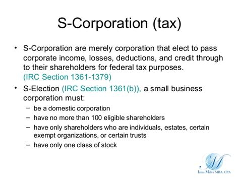 irc section 301 accounting for different business entities
