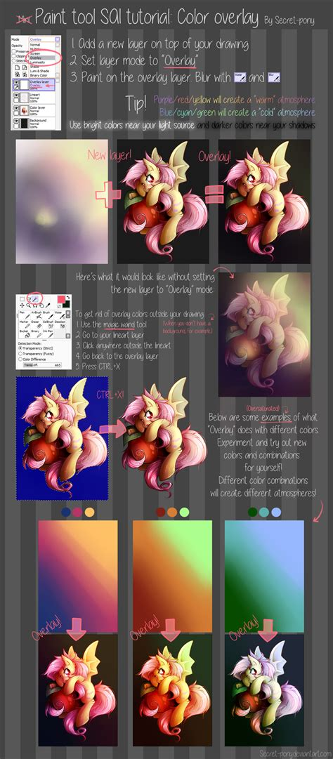 paint tool sai tutorial color overlay by secret pony on deviantart