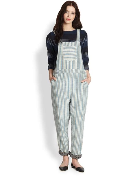 Overall Stripy lyst ace jig striped overalls in blue