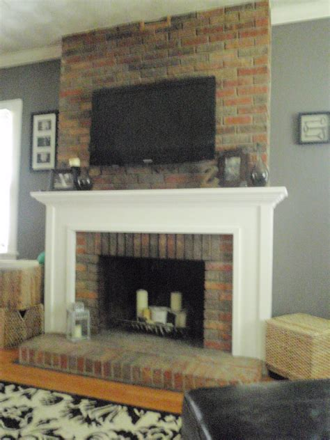 Fireplace Mantels On Brick by Hammers And High Heels Living Room Mounting A Tv To A