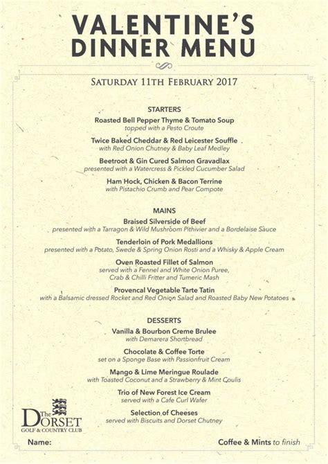 valentines dinner menu events the dorset golf resort