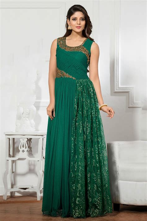 color dresses net semi stitched wear gown in green colour