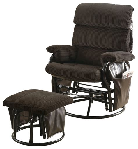 contemporary swivel rocker recliner monarch specialties i 7284 chocolate corduroy pu swivel