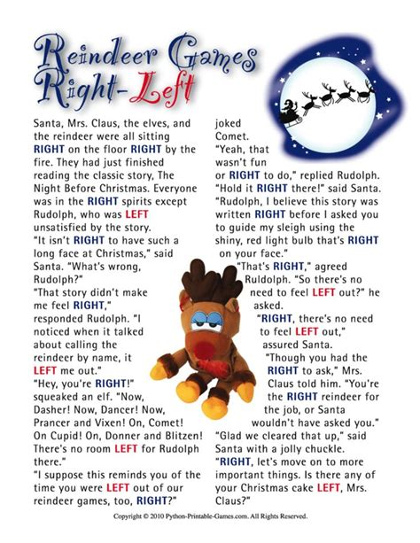 printable christmas exchange games reindeer games right left ornament exchange holidays