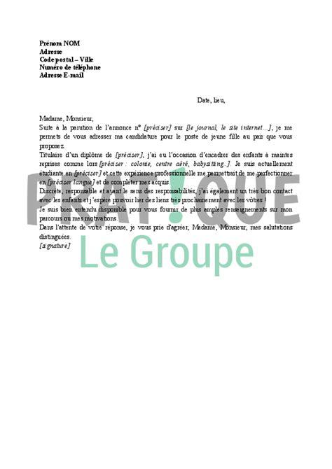 Présentation Lettre De Motivation Fonction Publique lettre de motivation fille au pair employment