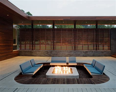 Eye Catching Modern Outdoor Fireplaces Turn The Patio Contemporary Firepit