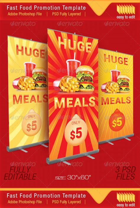 Happy Price Fast Food Promotion Outdoor Banner By Divefast Graphicriver Food Banner Design Template Free