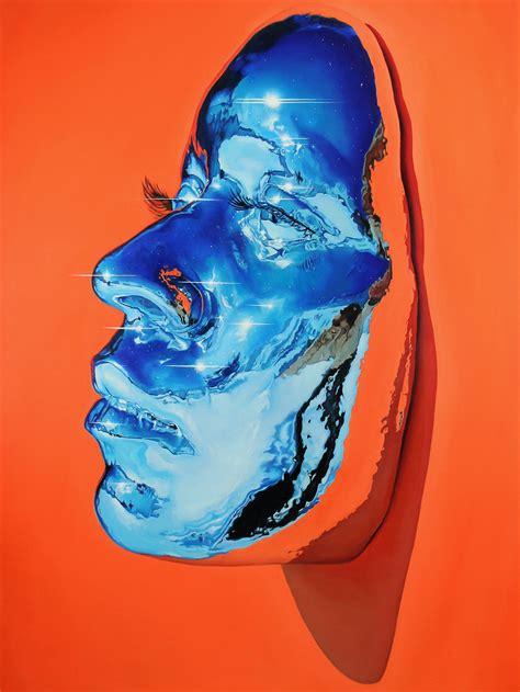 hyperrealistic oil paintings  vivid chrome masks  kip