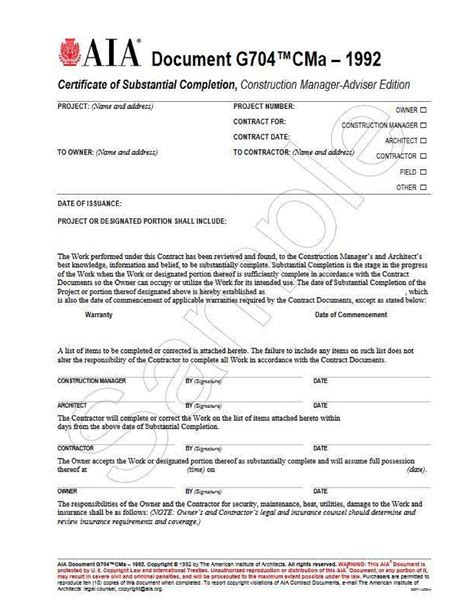 certificate of substantial completion template g704cma 1992 certificate of substantial completion