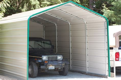 Enclosed Steel Carport Enclosed Carport Cover With Trim Hci Steel Buildings