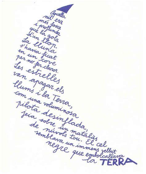 imagenes visuales poesia la lluna caligrama de miquel obiols poemas pinterest