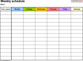 Weekly schedule template for word version 7 landscape 1 page monday