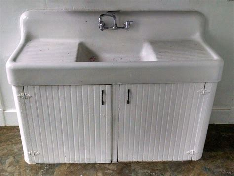 Drop In Farmhouse Kitchen Sink Vintage Drain Board Cast Iron Farm Farmhouse Kitchen Sink Antique Drop In Ebay