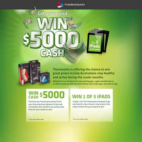Enter Competitions To Win Money - thermoskin win 5000 cash australian competitions