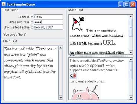swing components in java exles using text components the java tutorials gt creating a