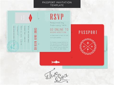 wedding passport invitation template by brittany zeller