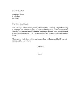Sle Resignation Letter Due To Distance