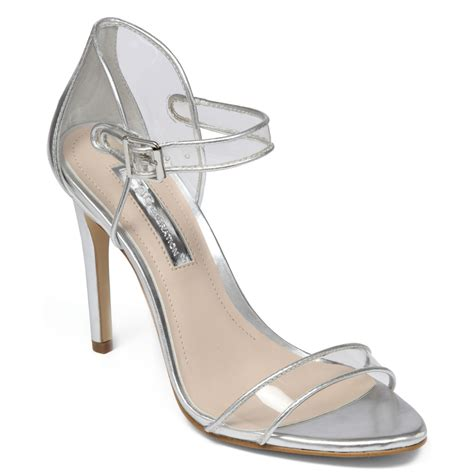 acrylic sandals lyst bcbgeneration jakalyn lucite sandals in metallic