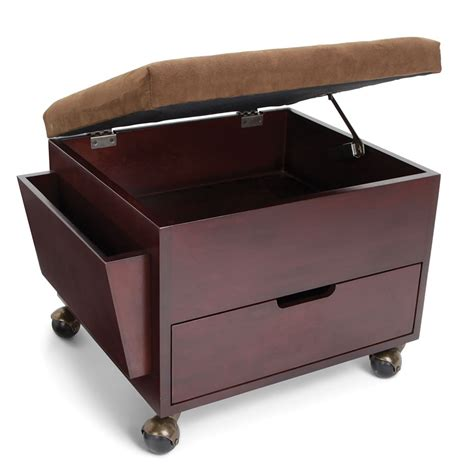 Rolling Storage Ottoman with The Rolling Storage Ottoman Hammacher Schlemmer