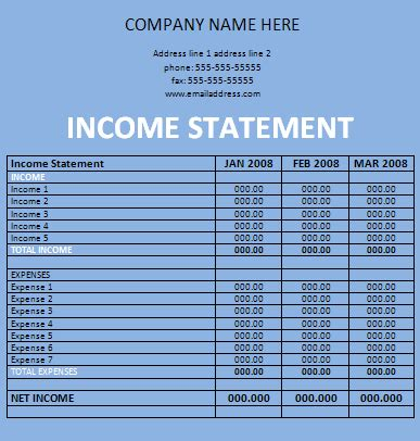 Income Template personal income statement template excel