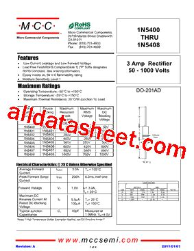 1n5408 diode datasheet pdf 1n5408 datasheet pdf micro commercial components