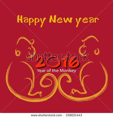 happy new year year of the monkey happy new year stock illustration 227079337