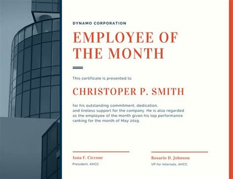 employee of the month powerpoint template corporate employee of the month certificate