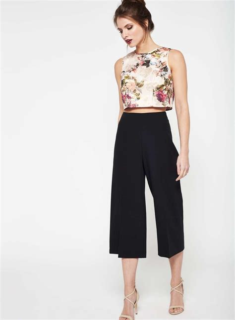 Cropped Leg black cropped wide leg trousers miss selfridge