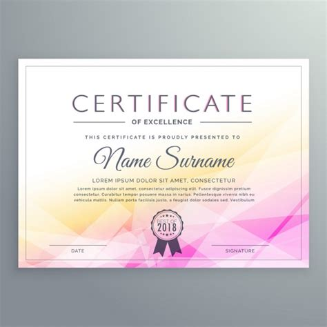 event design certification yellow and pink polygonal certificate vector free download