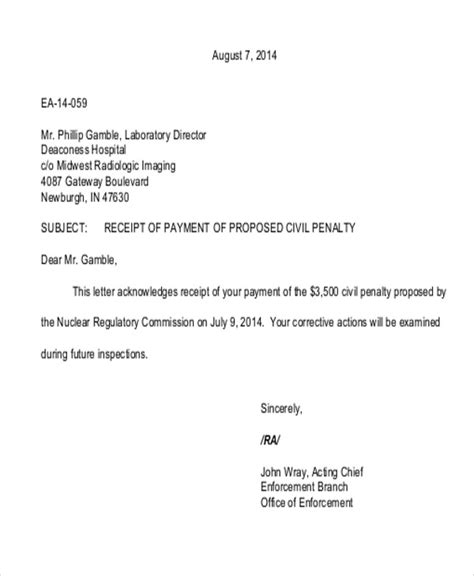 letter receipt of payment template 6 sle payment received receipt letters pdf doc