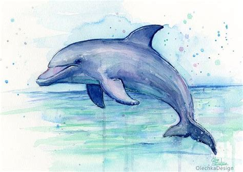 dolphin watercolor art print dolphin painting dolphin