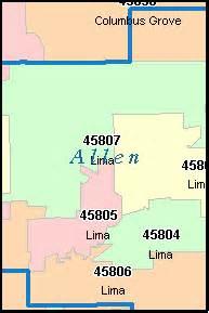 allen county ohio digital zip code map