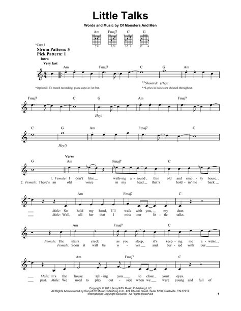 ukulele tutorial little talks little talks sheet music direct