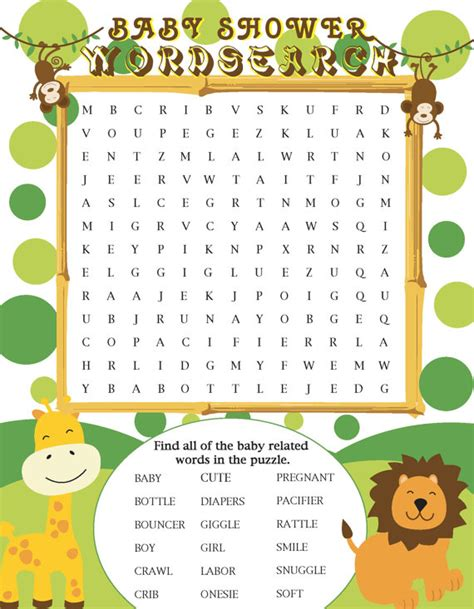 Baby Shower Word Search by Printable Jungle Themed Baby Shower Word Search By Jennya309