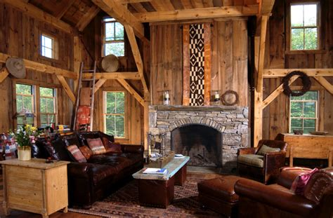 Cabin Themed Living Room by On Lodge Style Rustic