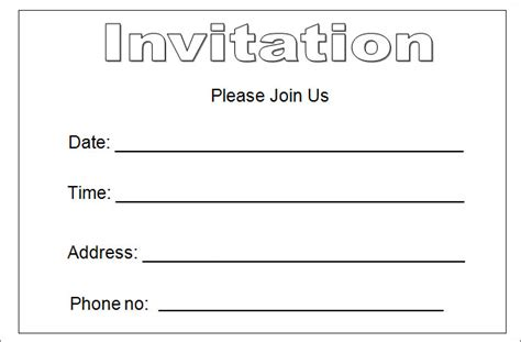 blank invitations templates invitation template
