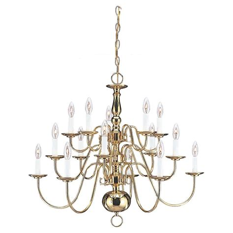 Tier Chandelier Sea Gull Lighting Traditional 15 Light Polished Brass Multi Tier Chandelier 3414 02 The Home Depot