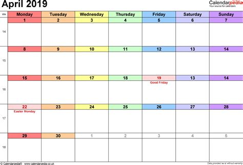 Calendar 2019 April Calendar April 2019 Uk Bank Holidays Excel Pdf Word