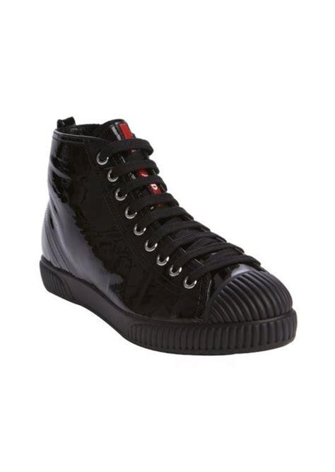 prada sneakers black patent leather prada prada black patent leather lace up cap toe sneakers