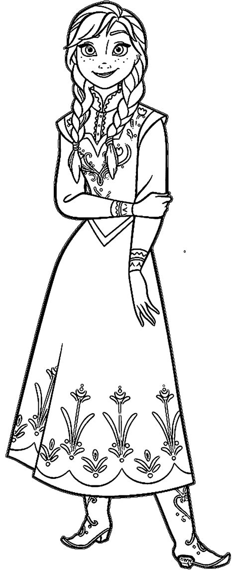 frozen anna face coloring coloring pages