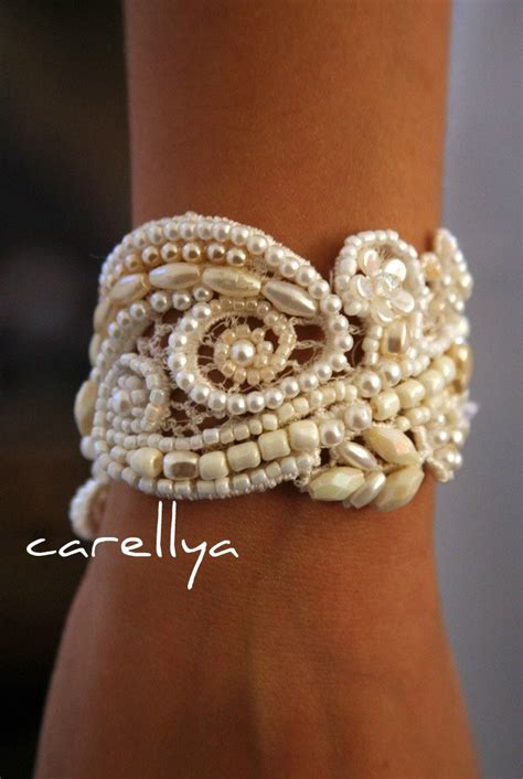 pearl cuff bracelet vintage beaded lace bridal cuff wedding