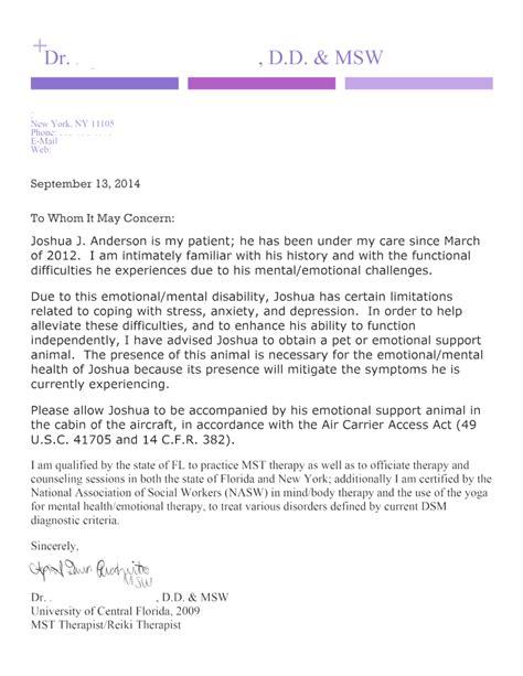Sle Letter Emotional Support Animal Housing sle esa letter for airlines docoments ojazlink